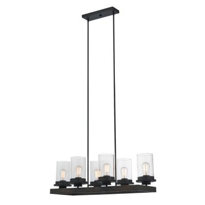Williamsburg 6-Light Dark Bronze Chandelier with Clear Glass Shades