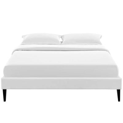 Tessie White King Bed Frame with Squared Tapered Legs