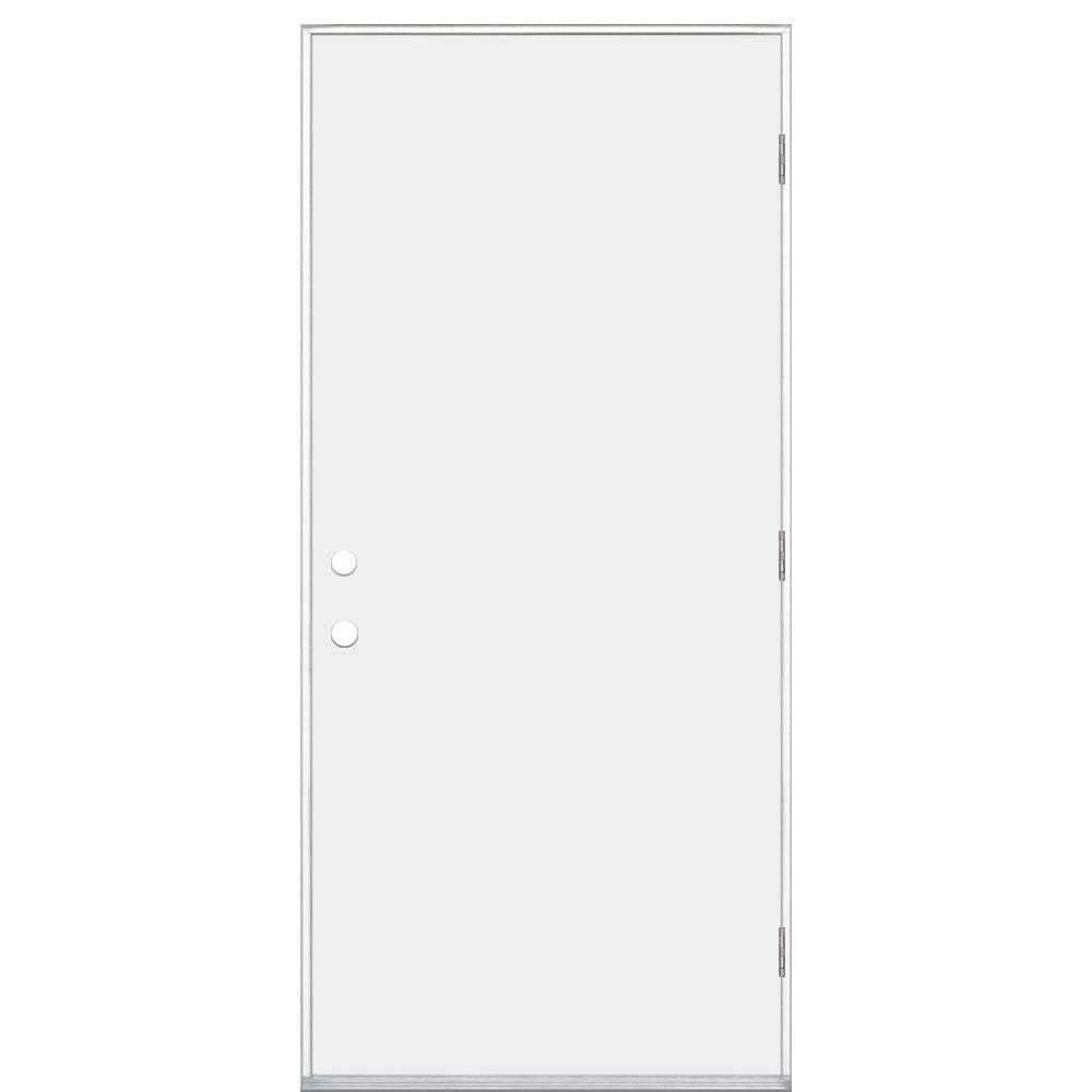 36 in. x 80 in. Premium Flush Right-Hand Outswing Primed Steel