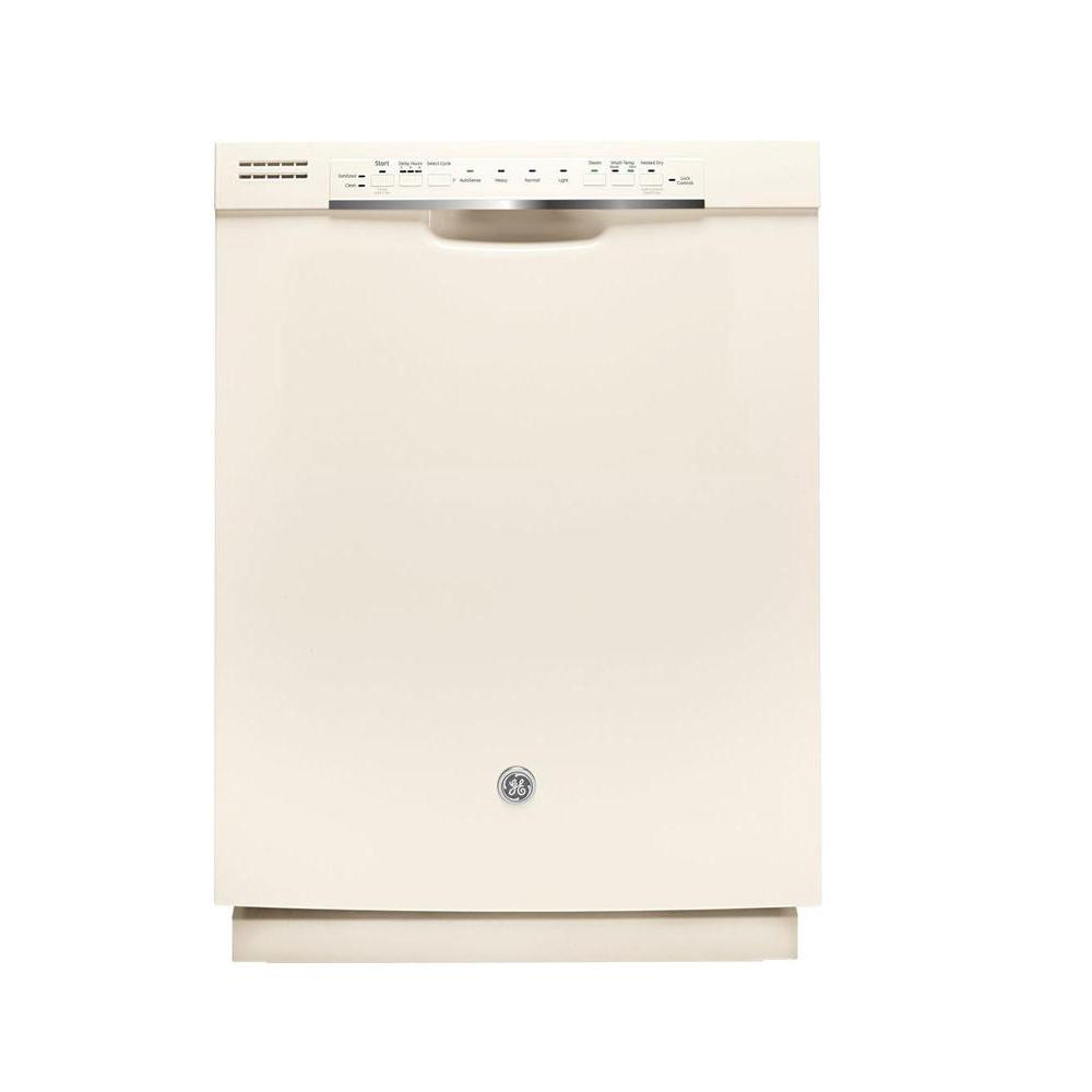 GE Front Control Dishwasher in Bisque with Stainless Stee...