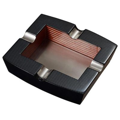 Nomandy Carbon Fiber Patterned Wooden Cigar Ashtray with 4 Cigar Rests