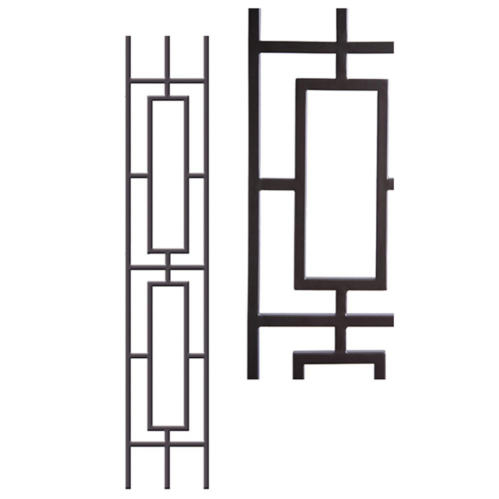 Aalto Modern 44 in. x 0.5 in. Wrought Iron Double Rectangular
