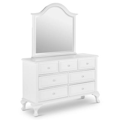 Jenna 7-Drawer White Dresser with Mirror