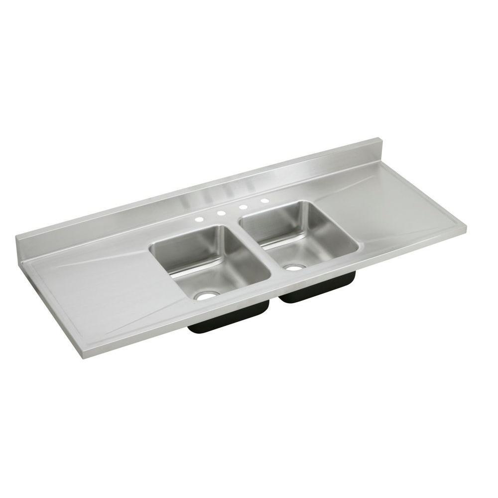 Elkay Lustertone Sink Drop-In Stainless Steel 60 in. 4-Hole Double Bowl Kitchen Sink