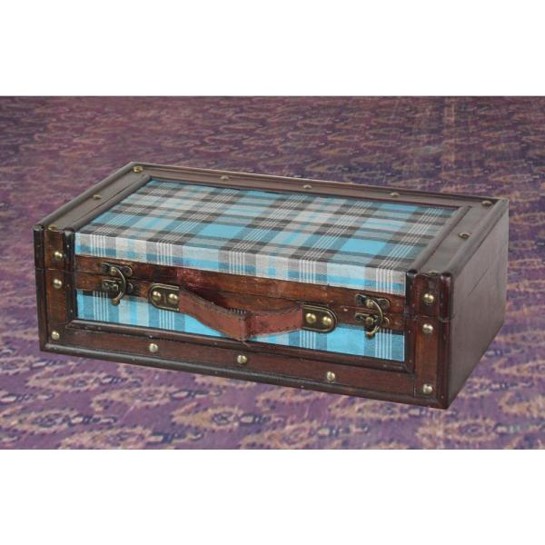 Vintiquewise Blue Plaid Trunk QI003074.L