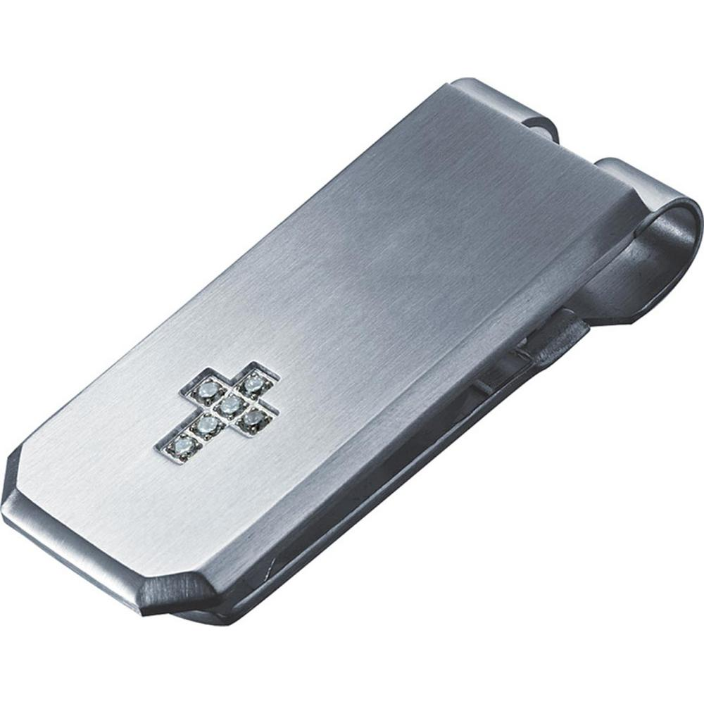 Cross Crystal Cross Money Clip, Grays