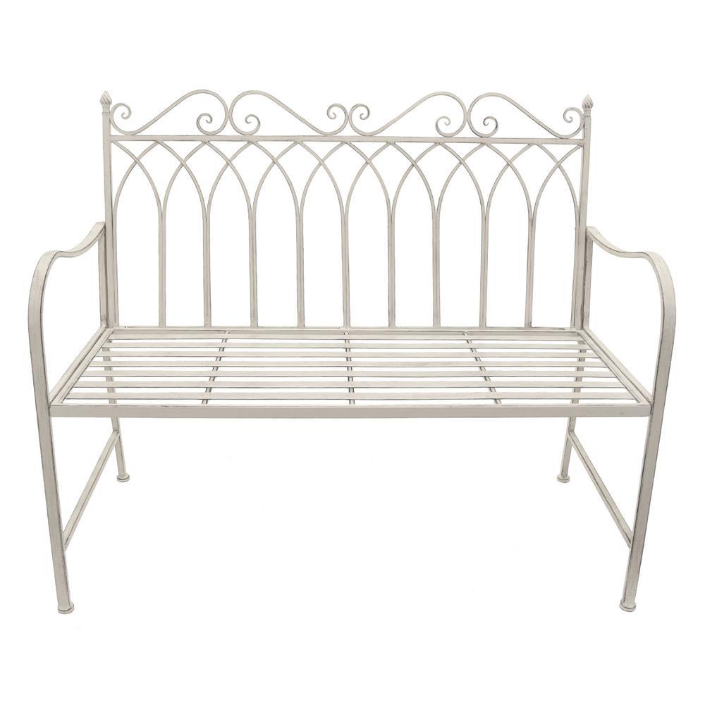 THREE HANDS White Metal Garden Bench