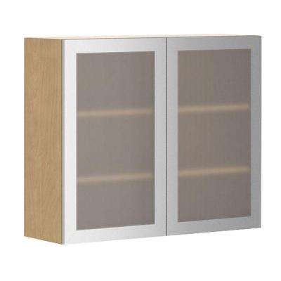 Ready to Assemble 36x30x12.5 in. Copenhagen Wall Cabinet in Maple Melamine and Glass Door in Stainless