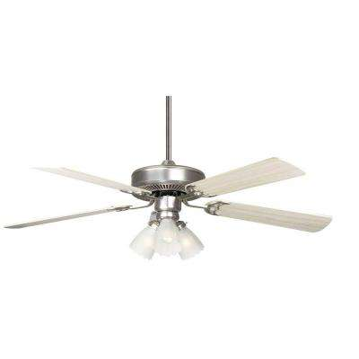 Breazer 52 in. Satin Nickel Ceiling Fan with Light Kit and 5 Blades
