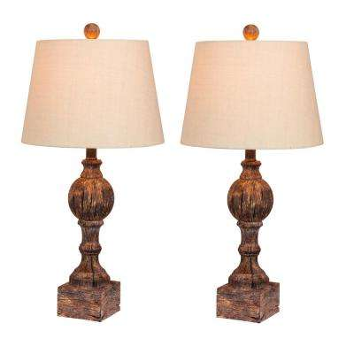 26.5 in. Pair of Distressed Column Resin Table Lamps in a Cottage Antique Brown