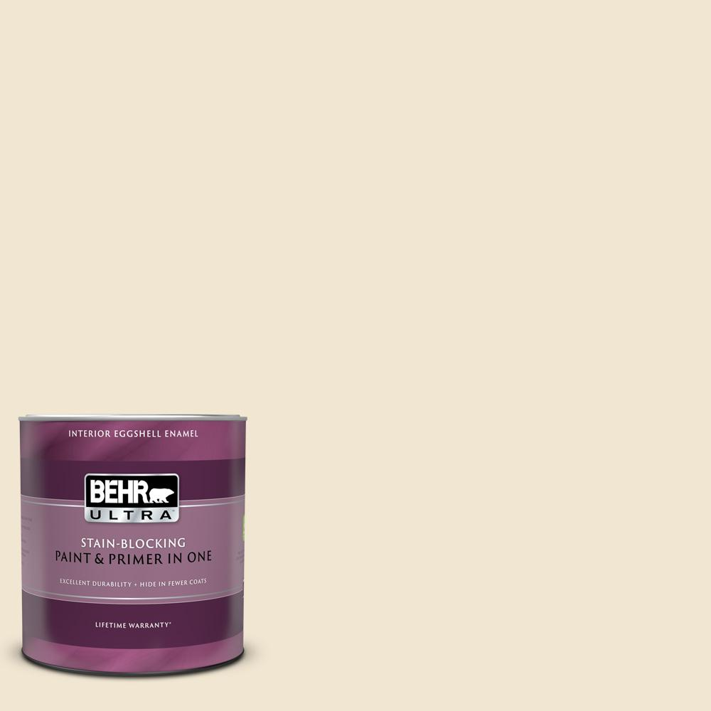 Behr Ultra 1 Qt Bwc 16 Ancient Ivory Eggshell Enamel Interior Paint And Primer In One 275004 The Home Depot