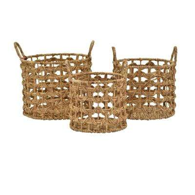 17 in. x 17.5 in. Water Hyacinth Baskets (Set of 3)