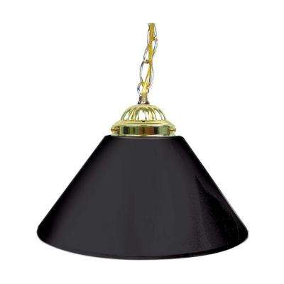 14 in. Single Shade Black and Brass Hanging Lamp