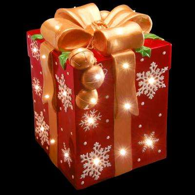 21 in. Pre-Lit Gift Box Decoration