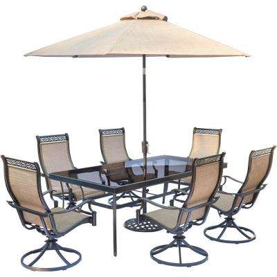 Monaco 7-Piece Aluminum Outdoor Dining Set with 6 Sling Swivel Rockers, Glass-Top Dining Table, and Umbrella with Stand
