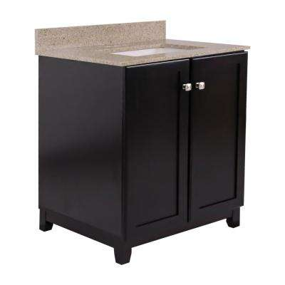 30 in. x 21 in. x 33 in. 2-Door Bath Vanity in Espresso with Golden Sand Granite Vanity Top and Rectangle White Basin