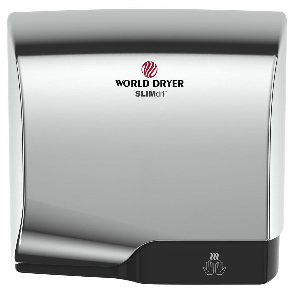 World Dryer Automatic Electric Hand Dryer in White SLIMdri is an energy efficient, surface-mounted and ADA compliant hand dryer. The SLIMdri hand dryer is perfect for all commercial washrooms. The On/Off heating control, stylish low-profile design with flexible cover options and universalvoltage features fits any decor or washroom environment. Color: White.