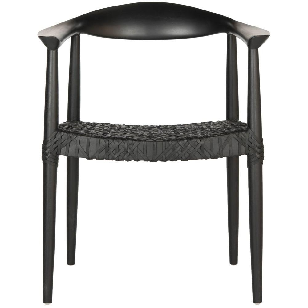 Safavieh Bandelier Black Leather Arm Chair-FOX1003B - The Home Depot