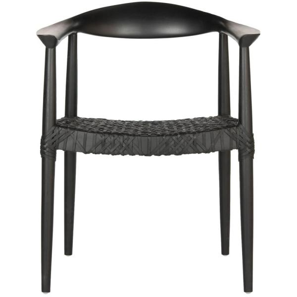 Safavieh Bandelier Black Leather Arm Chair FOX1003B