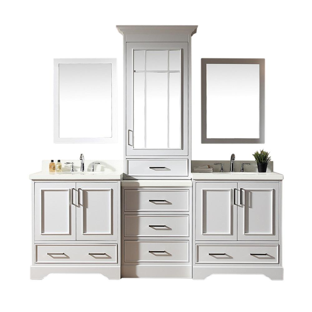 Ariel Stafford 85 in. Bath Vanity in White with Quartz Vanity Top in White with White Basins and Mirror