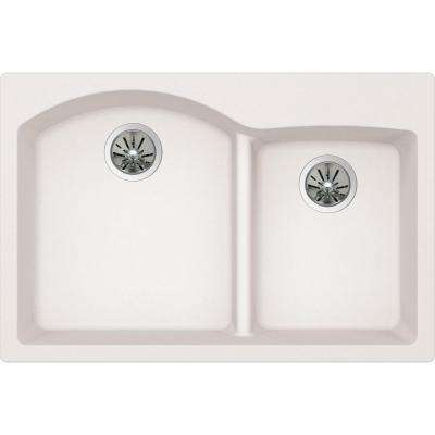 Quartz Luxe Drop-In/Undermount Composite 33 in. Rounded Offset Double Bowl Kitchen Sink in Ricotta