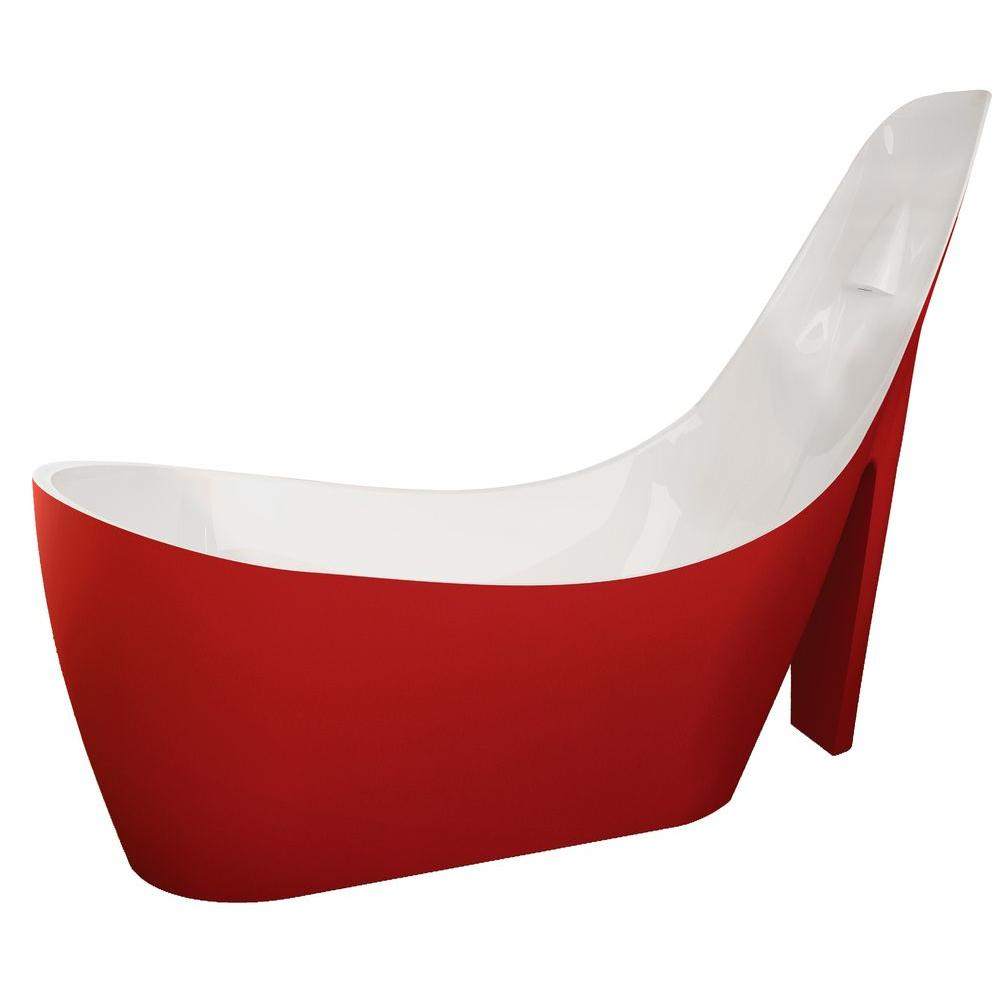 Gala 6.7 ft. Acrylic Reversible Drain Freestanding Bathtub in Glossy Red