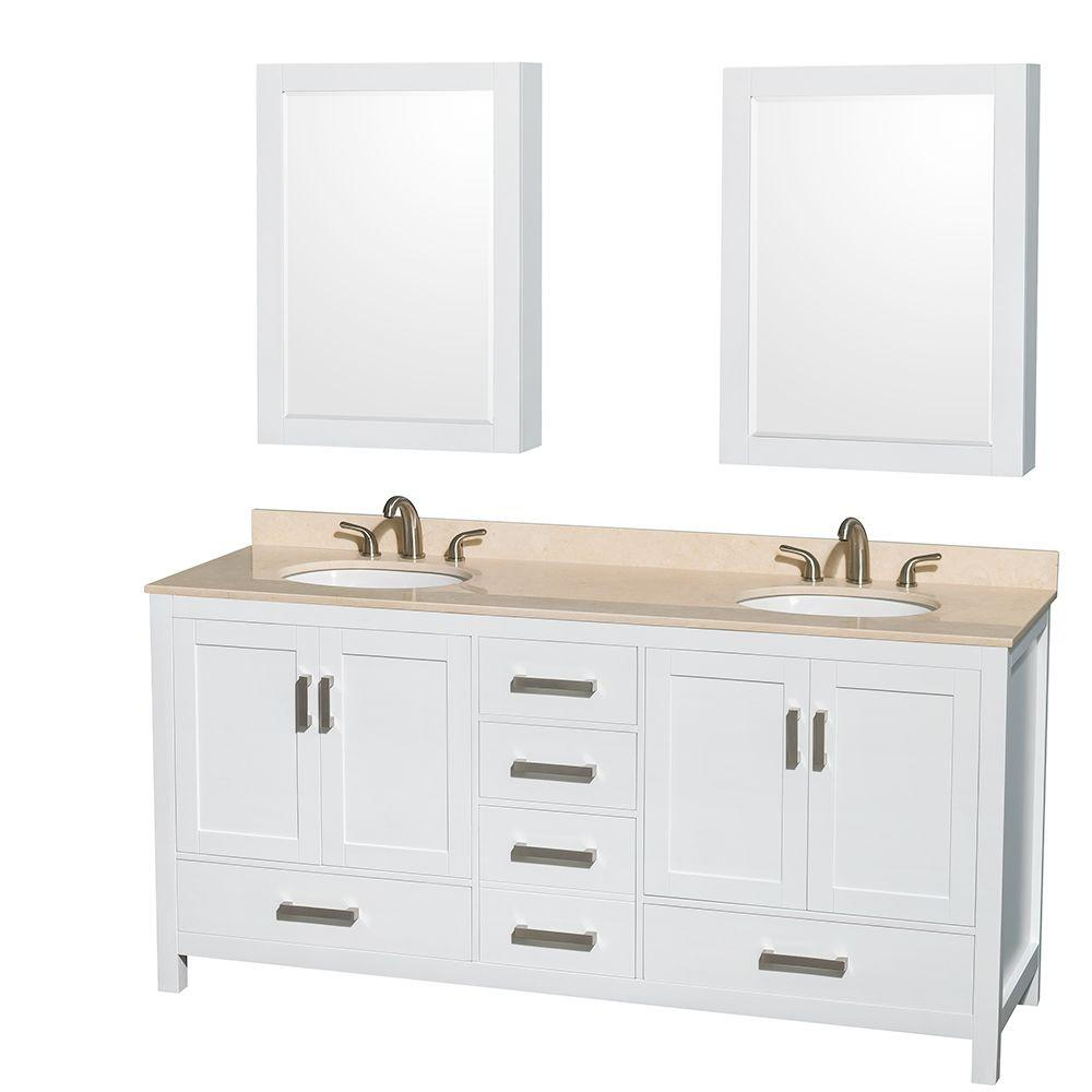 Wyndham Collection Sheffield 72 in. Double Vanity in White with Marble Vanity Top in Ivory and Medicine Cabinets