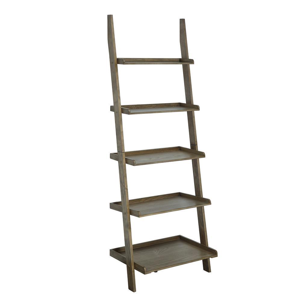 American Heritage 72 in. Driftwood Wood 5-Shelf Ladder Bookcase
