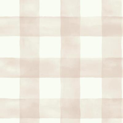 56 sq. ft. Pink and White Watercolor Check Removable Wallpaper