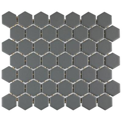 Restore Matte Charcoal Gray Hexagon 10 in. x 12 in. x 6.35 mm Glazed Ceramic Mosaic Tile (0.81 sq. ft./piece)