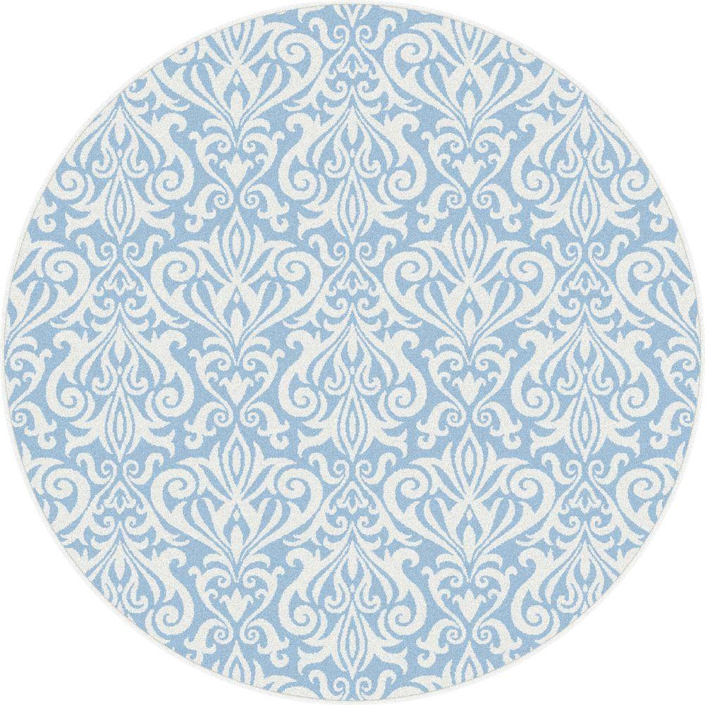 Tayse Rugs Metro Blue 7 ft. 3 in. x 7 ft. 3 in. Contemporary Round Area Rug