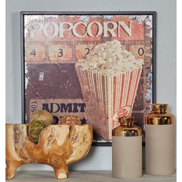Cypress Wood And Pvc Multicolor Black Framed Vintage Popcorn And Action Graphics Wall Art Set Of 2
