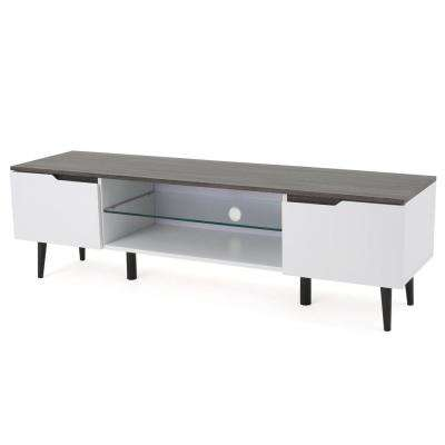 White and Black Wooden TV Console with Glass Shelf and Drawer