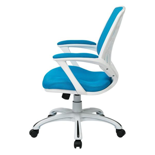 Osp Home Furnishings Blue Mesh Fabric With White Frame Calvin Office Chair Clva26 W7 The Home Depot