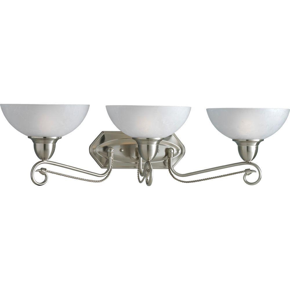 Progress Lighting Pavilion Collection 3-Light Brushed Nickel Vanity Fixture