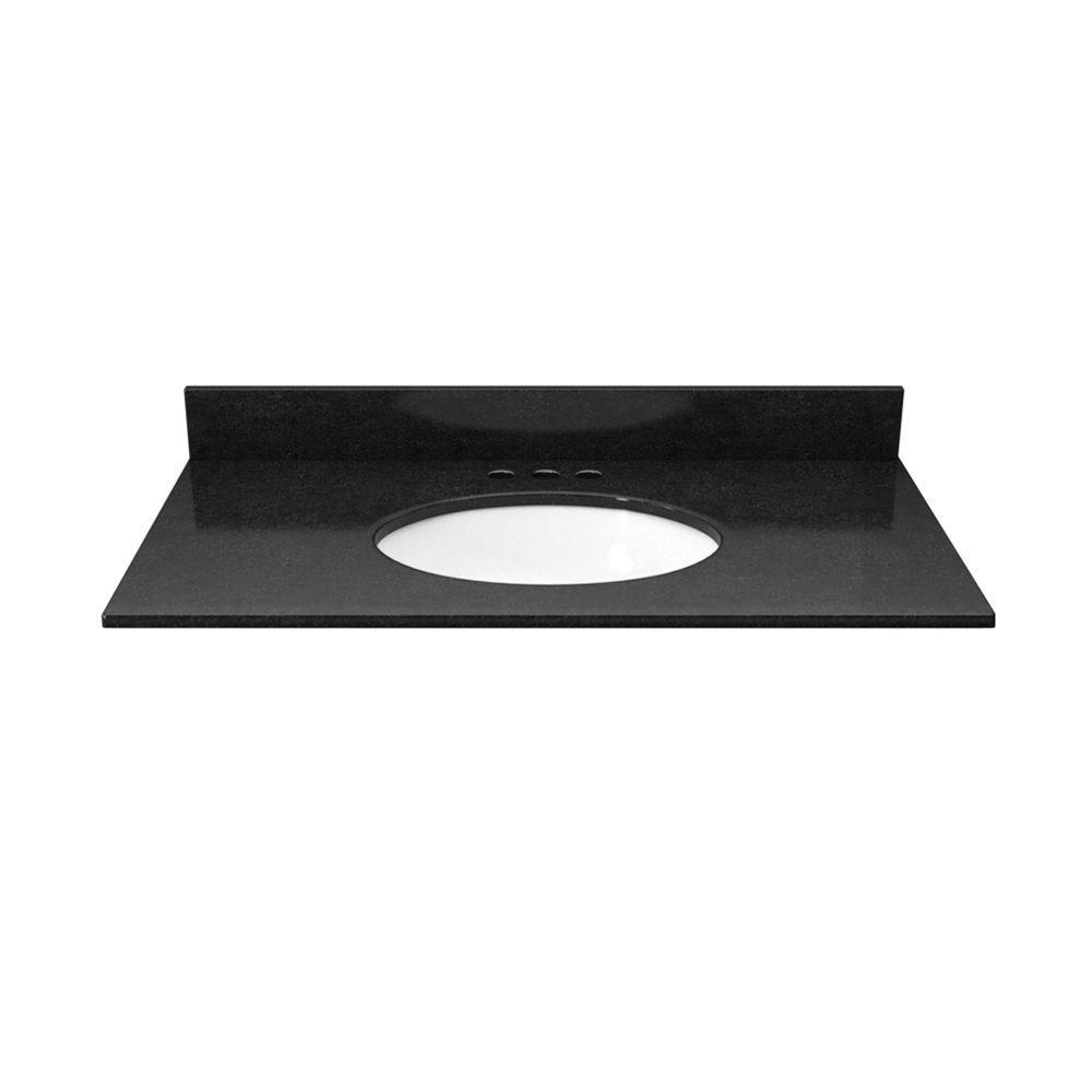 Solieque 31 in. Granite Vanity Top in Absolute Black with White Basin