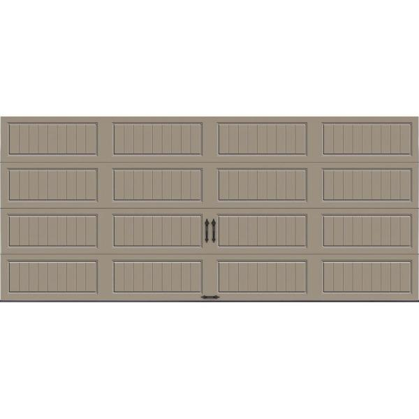 Gallery Collection 16 ft. x 7 ft. 18.4 R-Value Intellicore Insulated Solid Sandtone Garage Door
