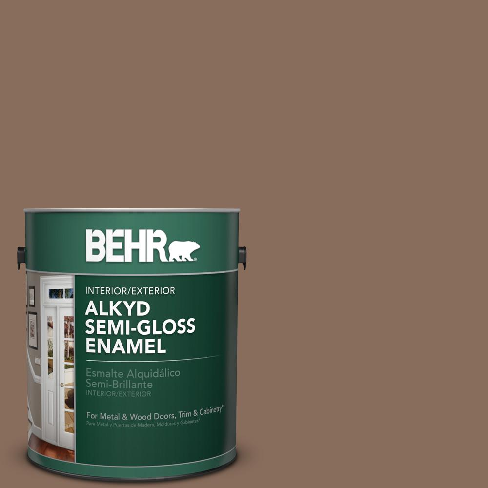 1 gal. #N190-6 Nut Brown Semi-Gloss Enamel Alkyd Interior/Exterior Paint