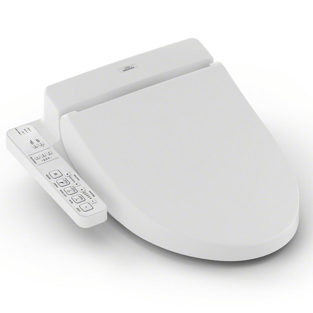C100 Electric Bidet Seat for Round Toilet in Cotton White