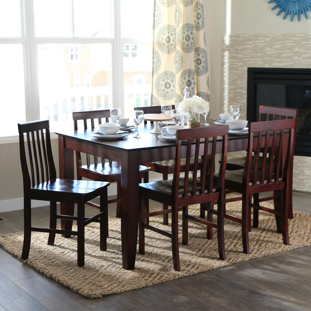 Walker Edison Furniture Company Abigail 7-Piece Espresso Dining Set ...