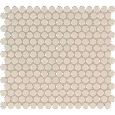 Almond Glossy Penny Round 11.57 in. x 12.4 in. x 10 mm Porcelain Mesh-Mounted Mosaic Tile (19.93 sq. ft. / case)