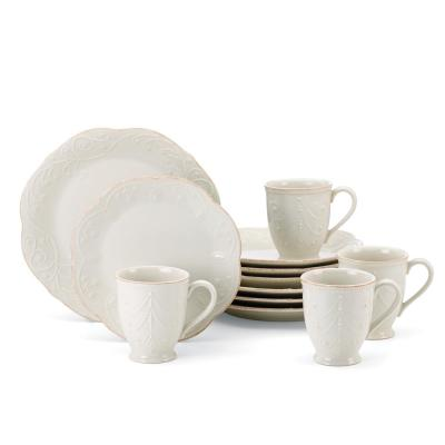 French Perle 12-Piece White  Dinnerware Set