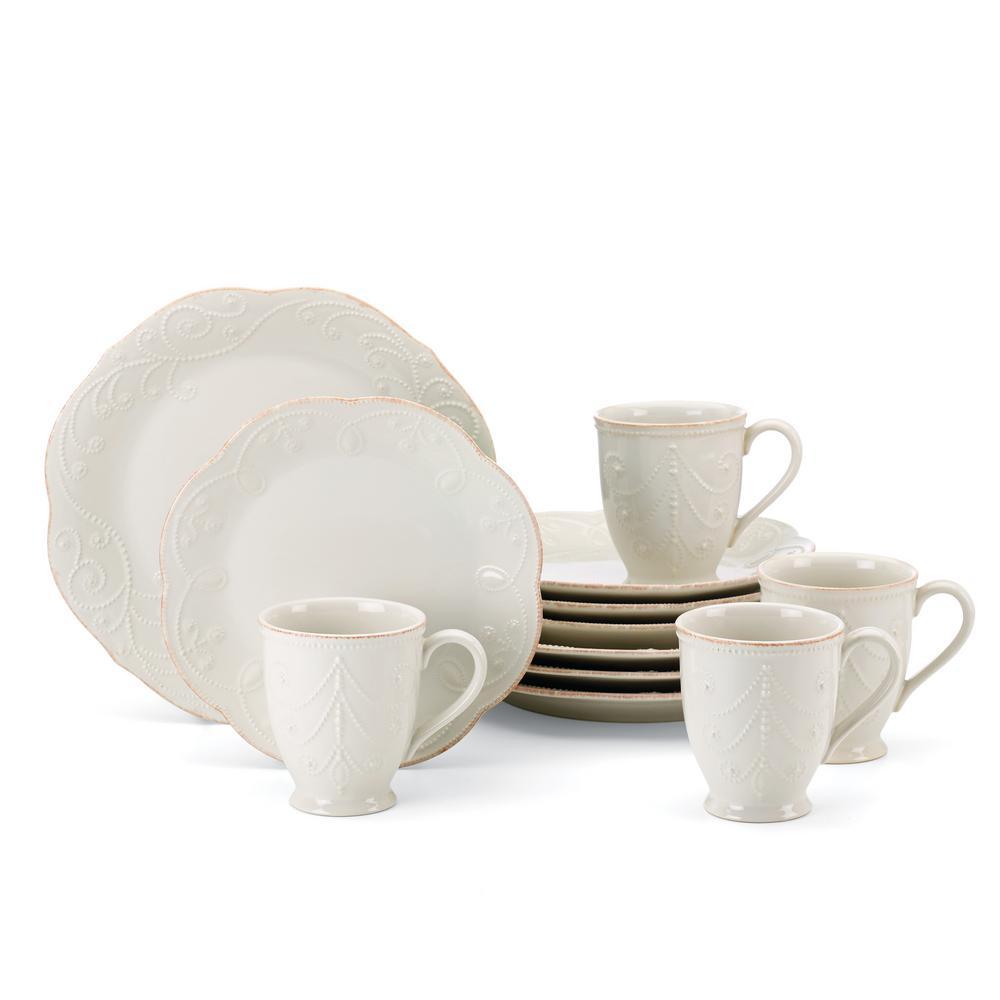 French Perle 12-Piece White  Dinnerware Set