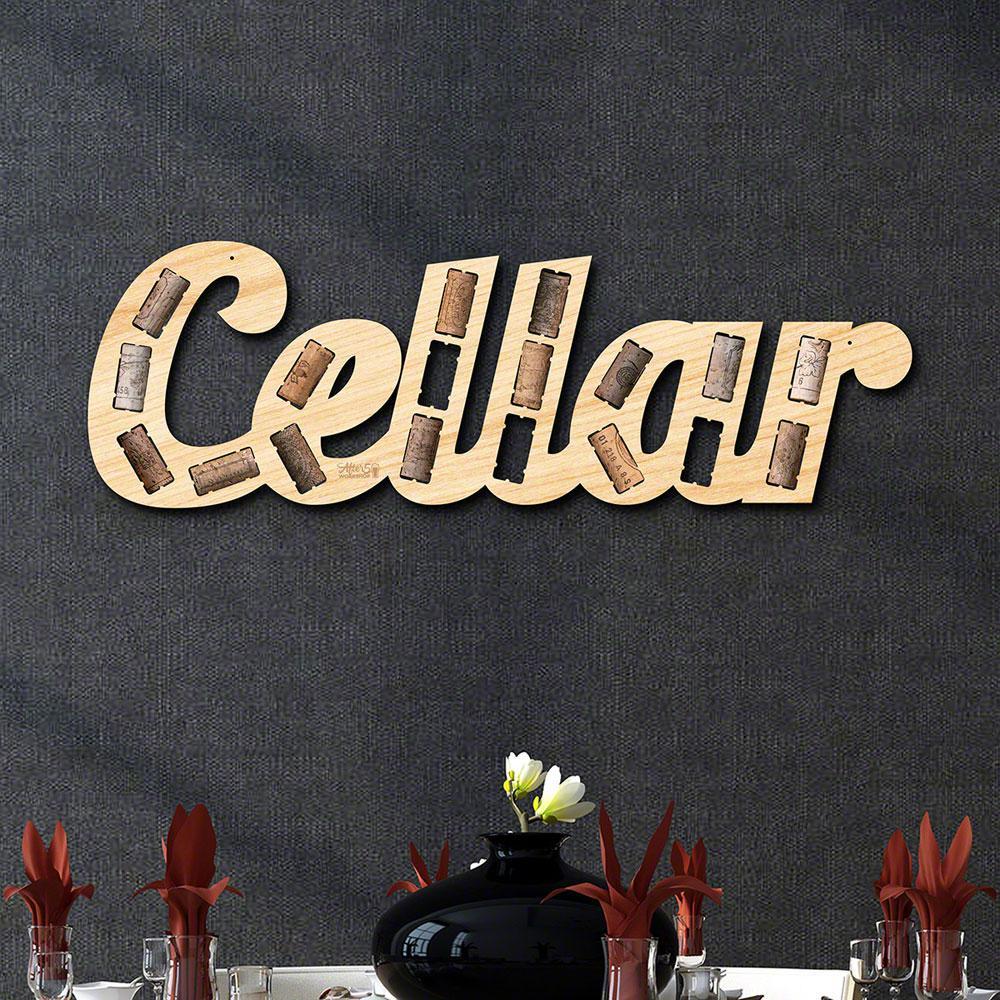 """Cellar Phrase Wine Cork Holder"" Wall Decor"
