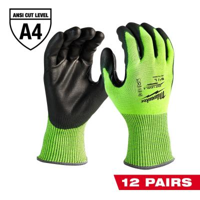 Large High Visibility Level 4 Cut Resistant Polyurethane Dipped Work Gloves (12-Pack)