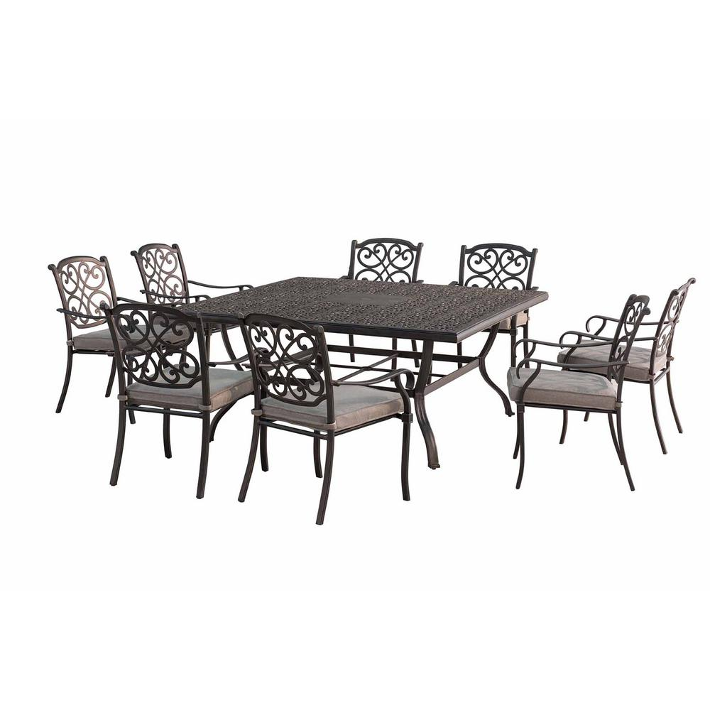Sunjoy Roosevelt 9 Piece Metal Square Outdoor Dining Set With Gray