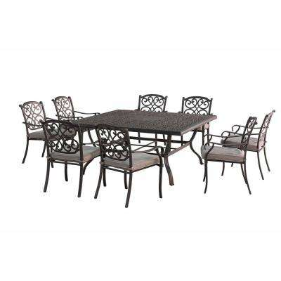 Roosevelt 9-Piece Metal Square Outdoor Dining Set with Gray Cushions