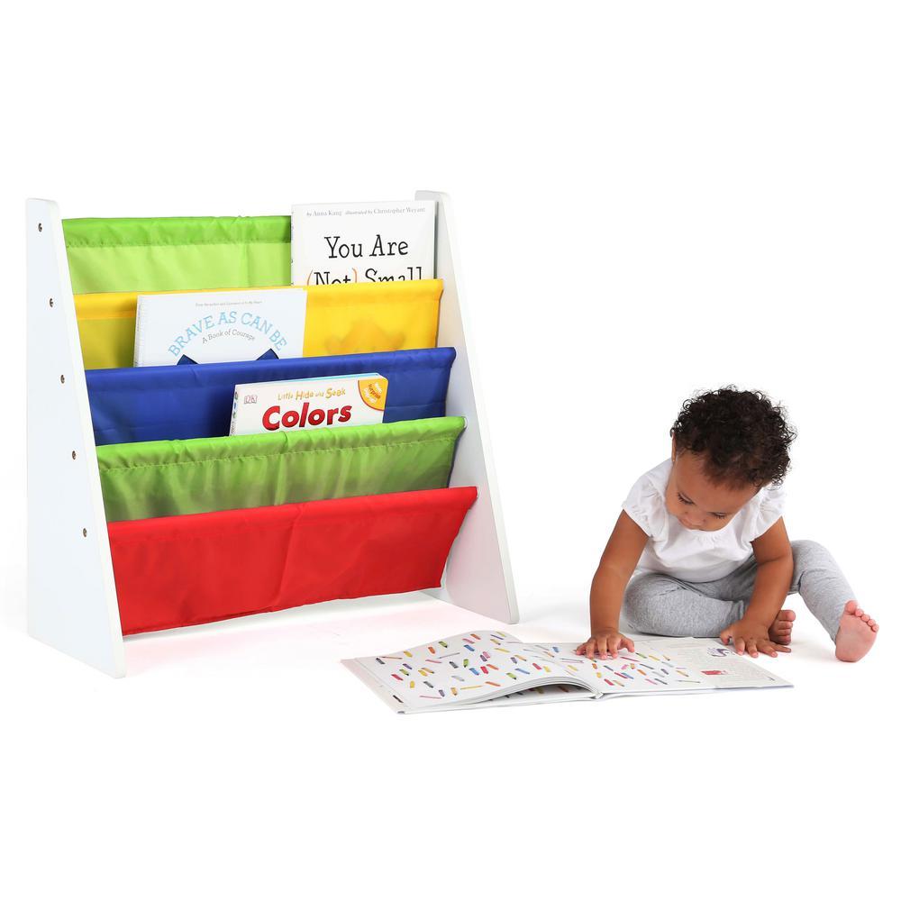 2 tot tutors summit collection whiteprimary kids book rack storage bookshelf - Tot Tutors Book Rack Primary Colors