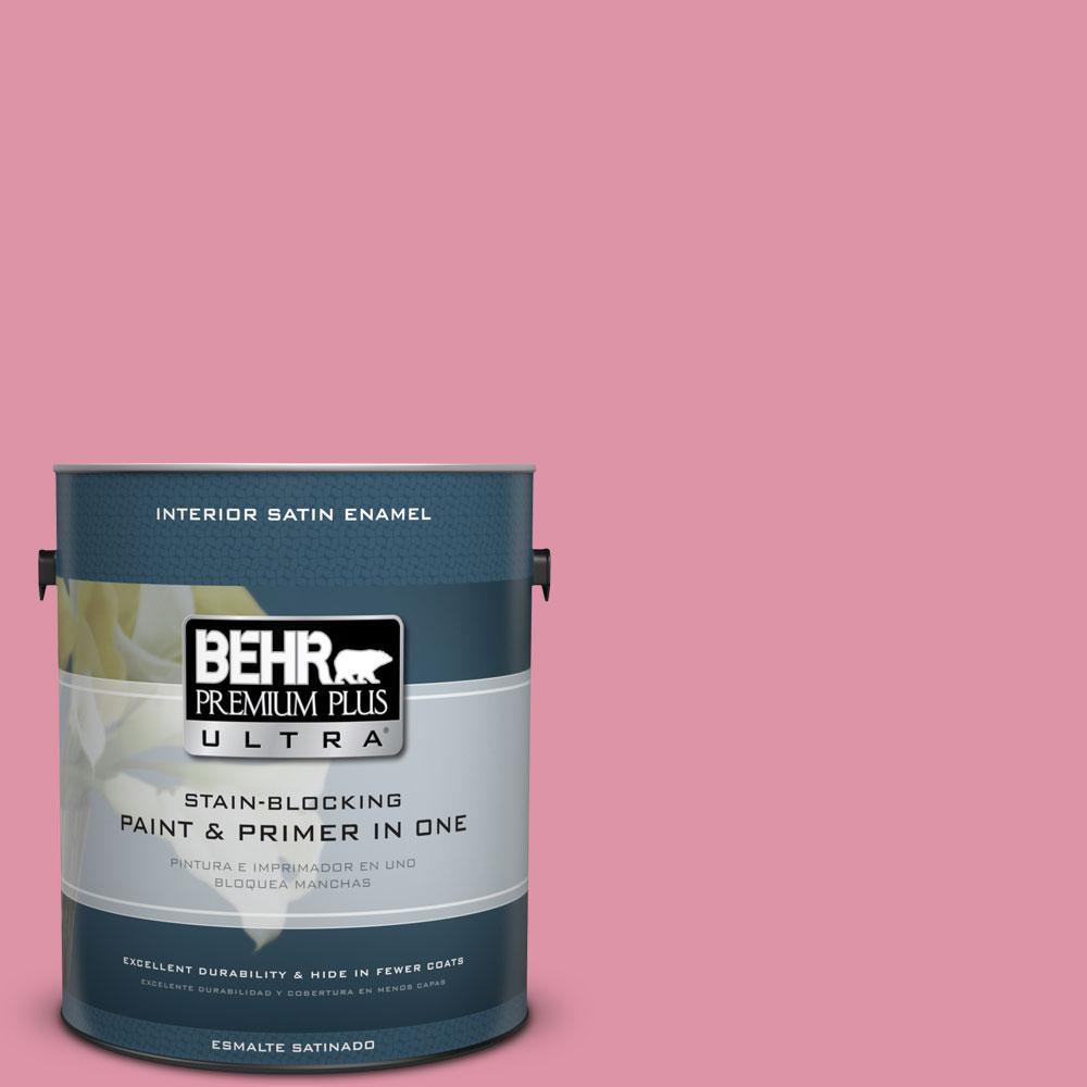 BEHR Premium Plus Ultra 1-gal. #120C-3 Rose Marquis Satin Enamel Interior Paint