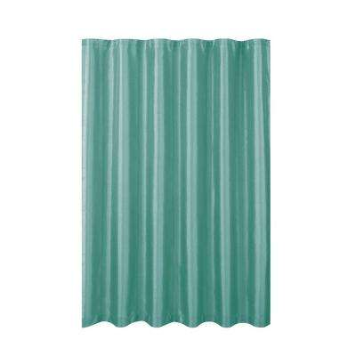 Jane Faux Silk 70 in. W x 72 in. L Shower Curtain with Metal Roller Hooks in Aqua